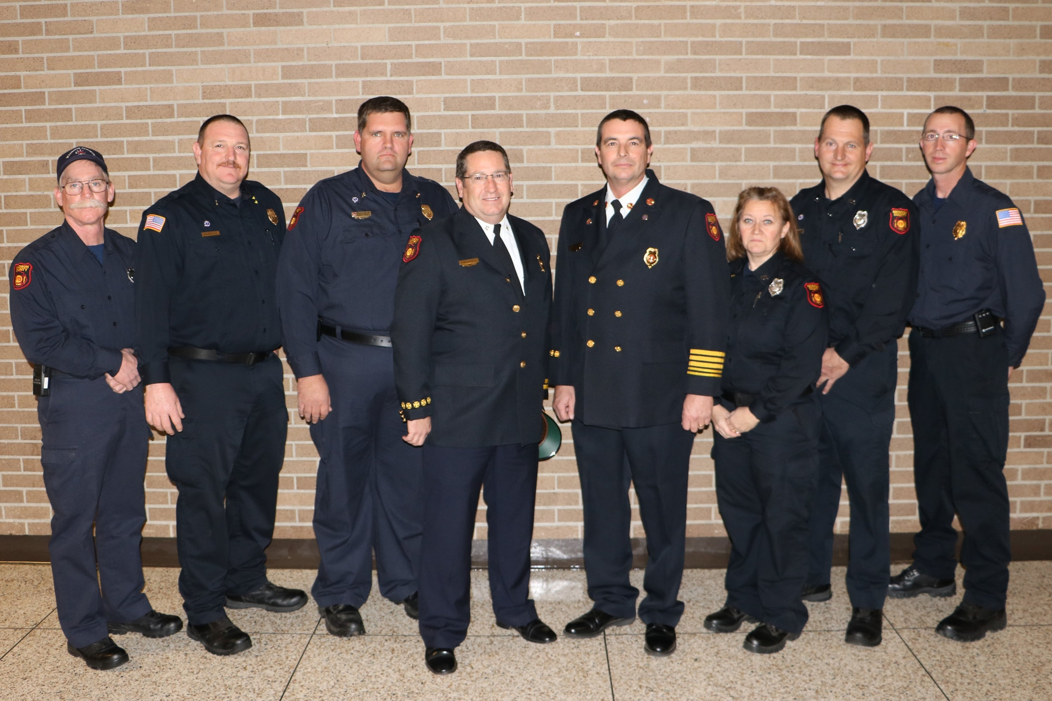 Robert Askew, Shane Barnes, Brian Kemp, Fire Marshall Don Friddle, Fire Chief Eric Turner, Kay Long, Gary Moore & Wesley Crower