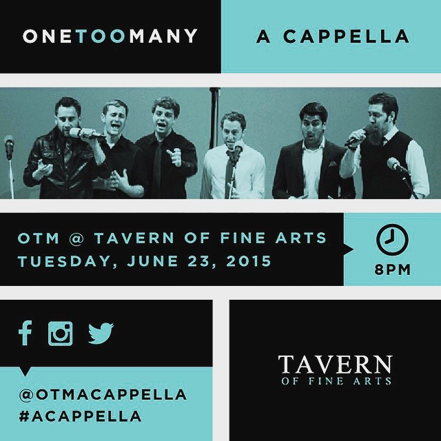 We're excited to be performing at @TavernFineArts on Tuesday, June 23 at 8pm! It's free so come enjoy some #acappella tunes! Need more convincing? Admission is FREE!