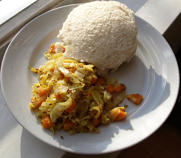 Ugali and cabbage. image via  WikiMedia