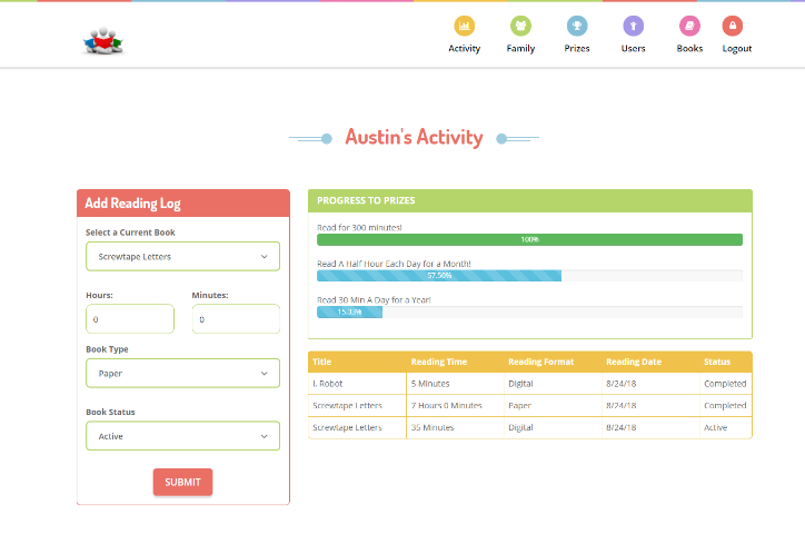 Reading Progress Tracking App