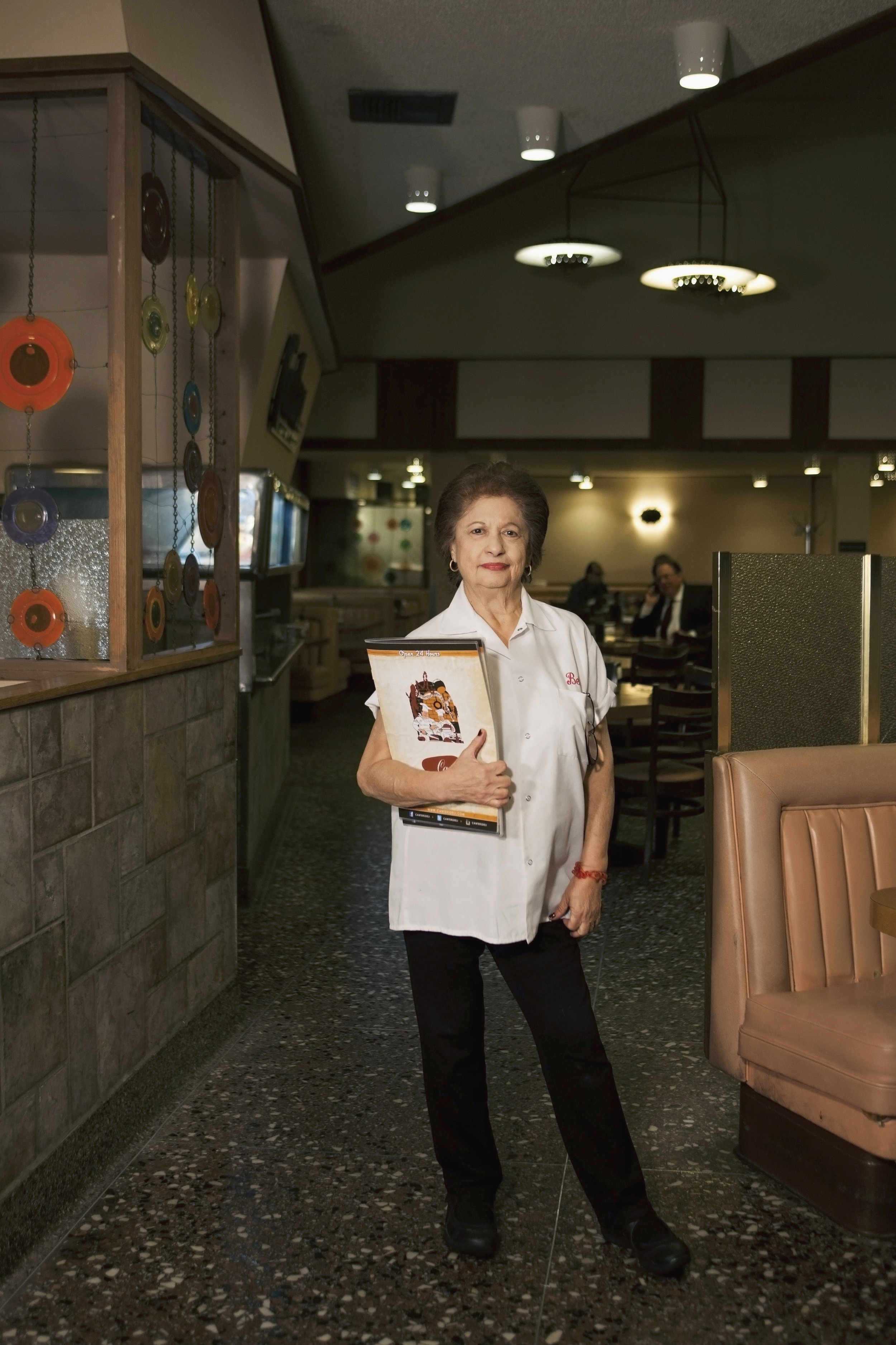 """Bella Haig - Bella Haig, 81, has been walking the freckled floors of Canter's deli for the past 51 years. """"My mother would take me to Canter's as a kid. It used to be in Boyle Heights and then in 1948, it moved to this location…I worked nights and my husband managed a parking lot during the day so we never needed a babysitter."""""""