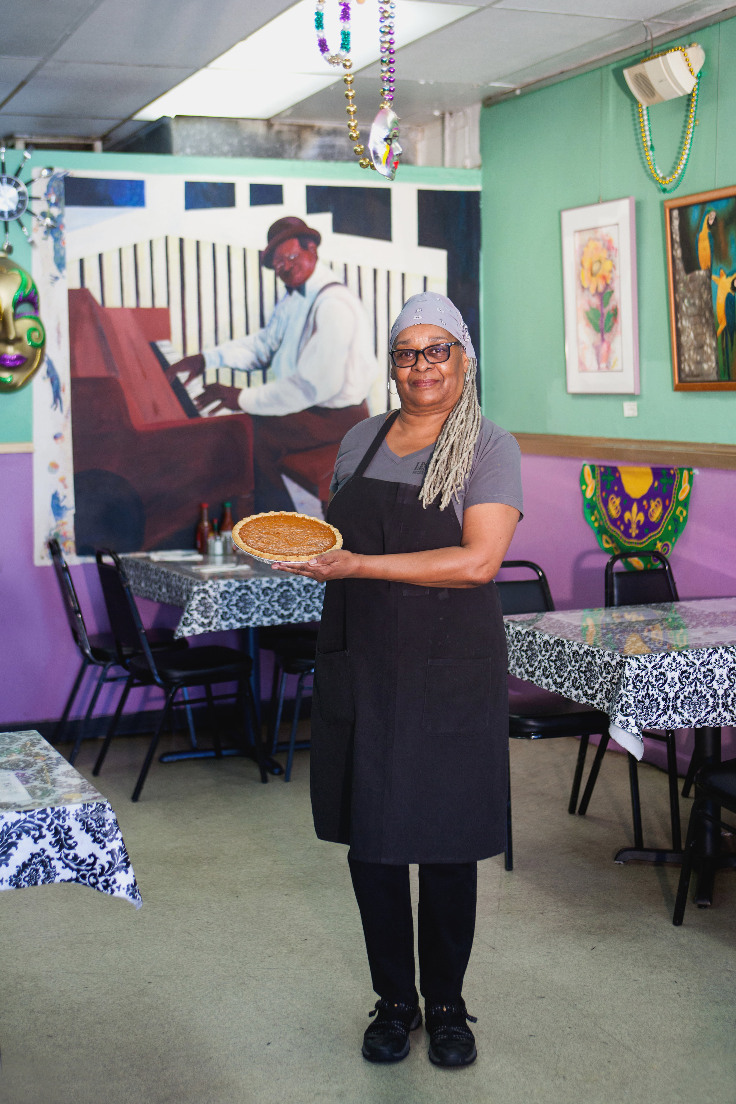 """Pat Fisher - Pat Fisher, 65, has been baking sweet potato pies at Les Sisters Southern Kitchen and BBQ in Chatsworth since 1992. """"I love what I'm doing. Plus I get to meet new people and I get to see lots of regulars. I've created a family here."""" She started serving at 15. """"I had my first crack at being a server here in LA at The Nickel Spot, one of the few Black-owned Southern restaurants in the '60s. It was so hard, I never wanted to do it again, but here I am, still serving."""""""