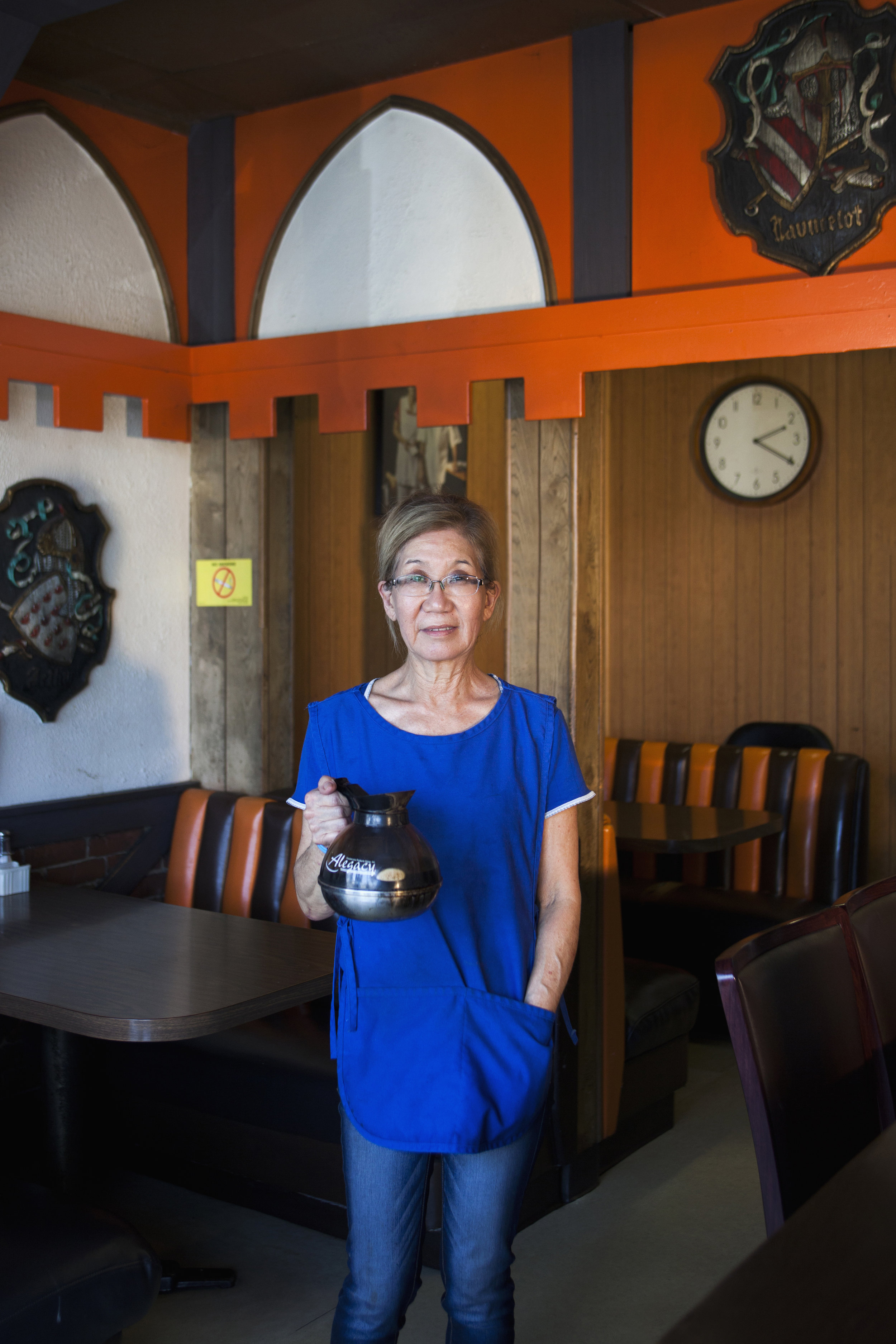 """Linda Yamamoto - Linda Yamamoto, 65, works the 5 a.m. to 2 p.m. shift at Olympic Cafe, Mid-Wilshire. Her parents opened the restaurant in 1972 and she became a part of the family business when she was 21. """"I'll retire when I hate to be here or when I don't like the business. But for now, I love my customers and it gives me something to get up for."""""""