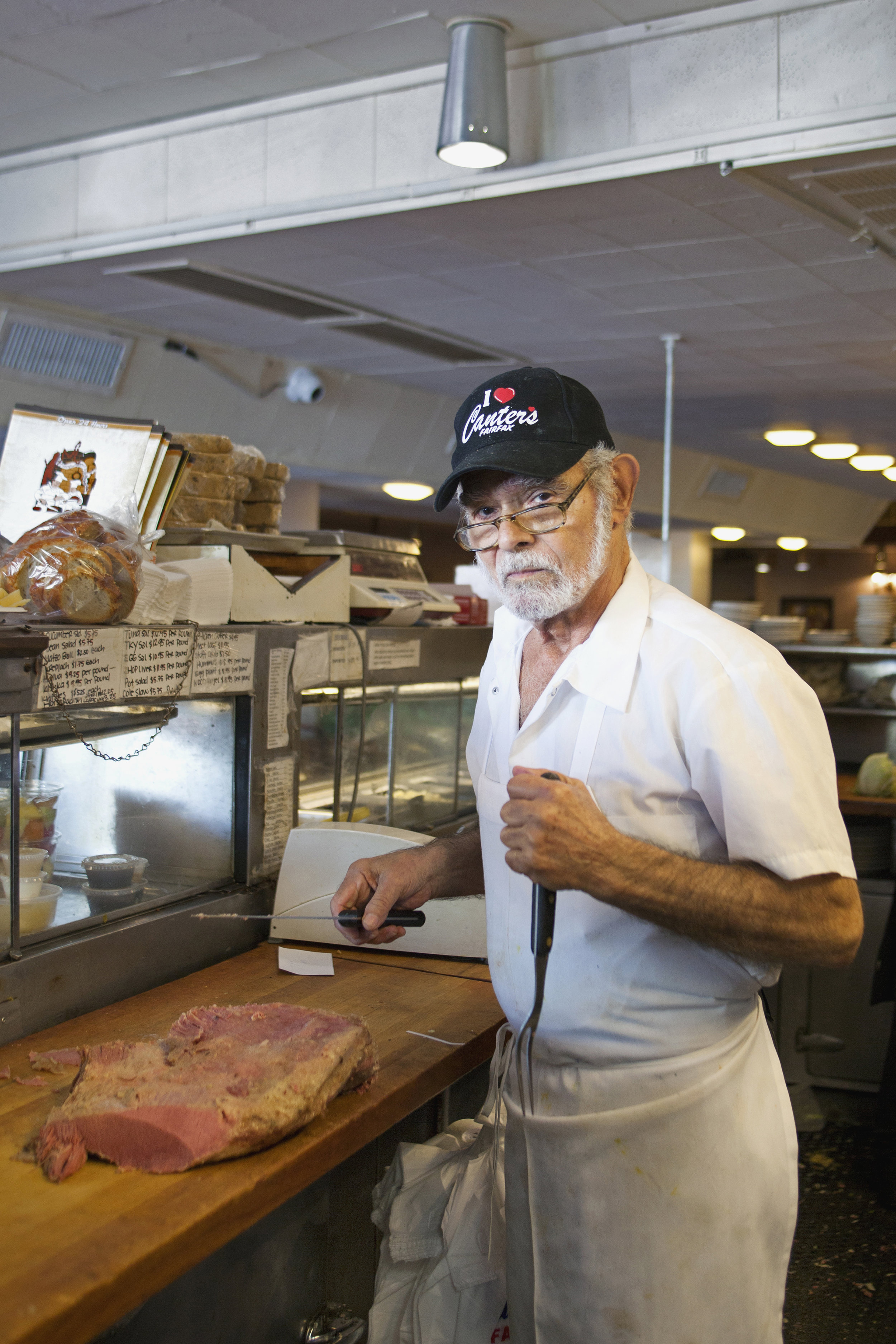 """GeorgeKarkabasis - George Karkabasis, 75, started working at Canter's in 1964. """"I've been with them for 50 years, they are my life."""" Amazingly, Karkabasis says he still feels like he is 19-years-old. """"You deal with the people, you deal with the public, you keep your mind working, your body active, that's what keeps you going."""""""