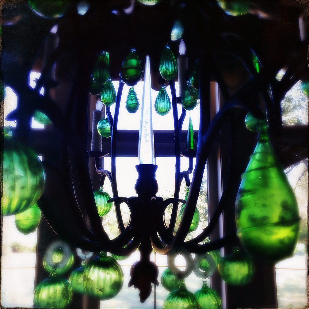 Green glass chandelier
