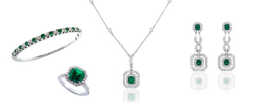 """Emeralds - Nothing pops quite like the vibrant green of our gem quality emeralds. Think of Kelly Green and open fields of dewy grasses in Scotland and Ireland. There's nothing subtle about emeralds. Walk into a room with one of our stunning ensembles and every head will turn. Explore our collection of exclusive T. Foster & Co. designs or let us source new emeralds and create a special design just for you. Get your """"wow"""" statement going today."""