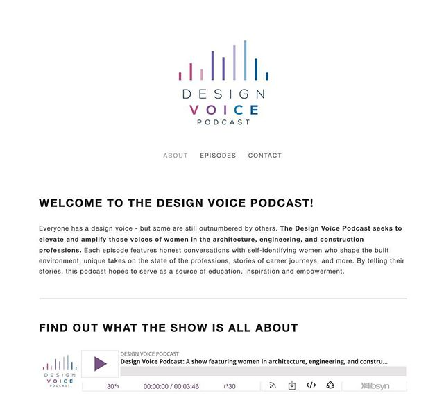"""Hello @designvoicepodcast , your season is awesome! """"Everyone has a design voice - but some are still outnumbered by others. The Design Voice Podcast seems to elevate and amplify those voices of women in architecture, engineering, and construction professions."""" I'm looking forward to listening to more."""
