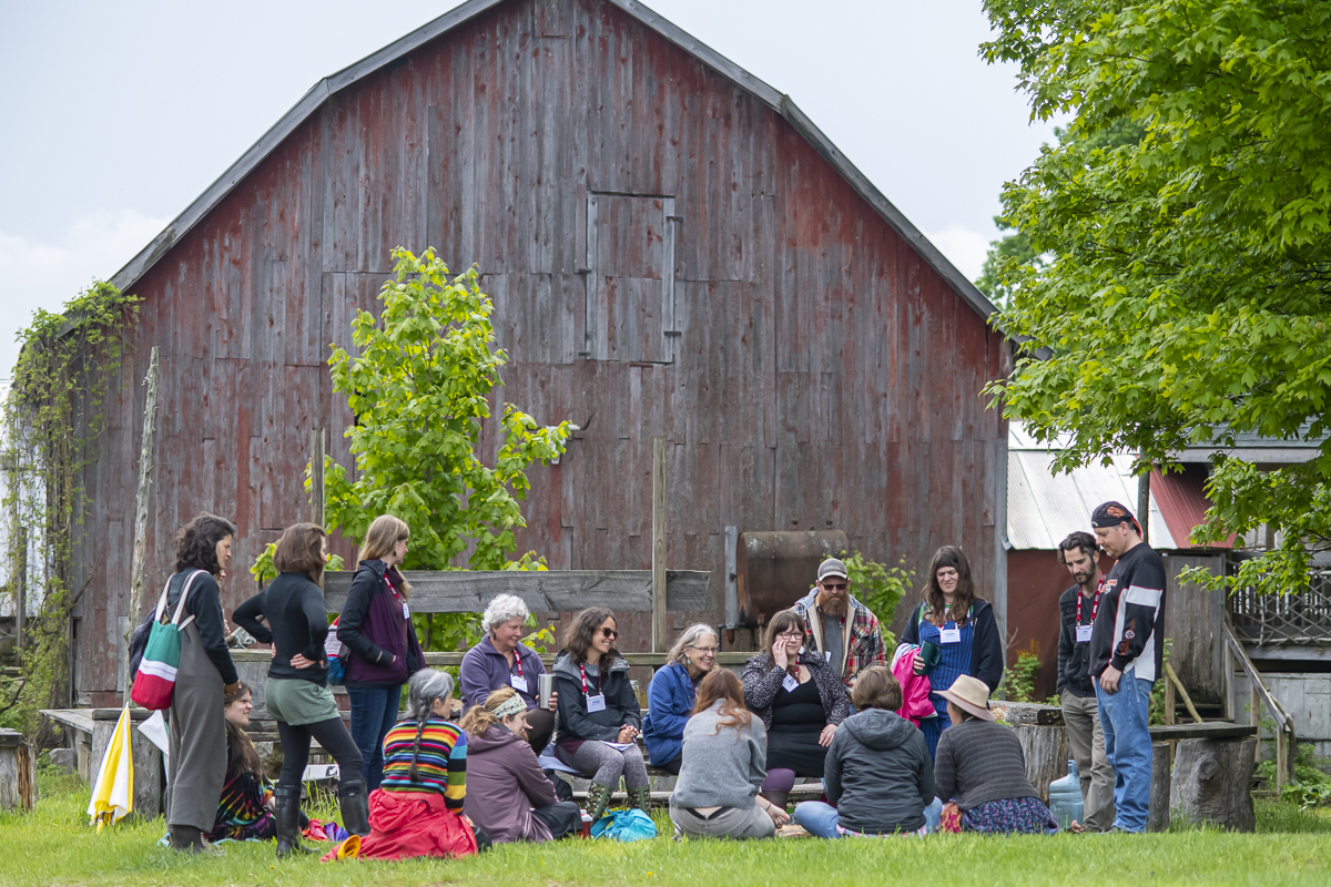 Workshop around the fire pit at Earthwork Farm