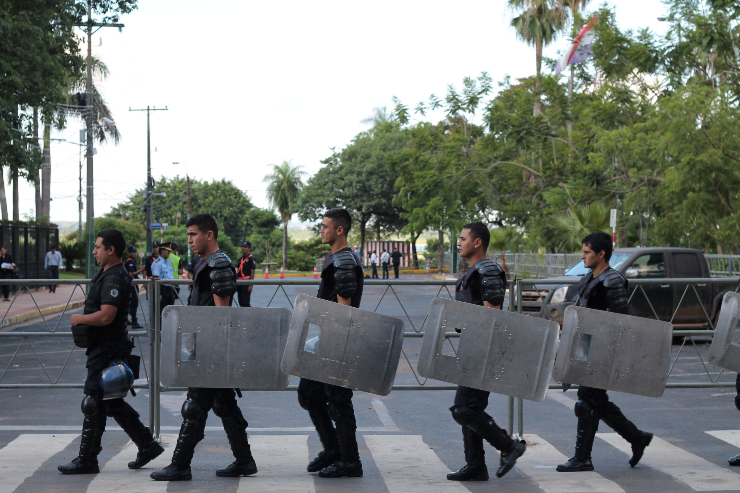 Riot police take position in front of Paraguay's congress building.JPG