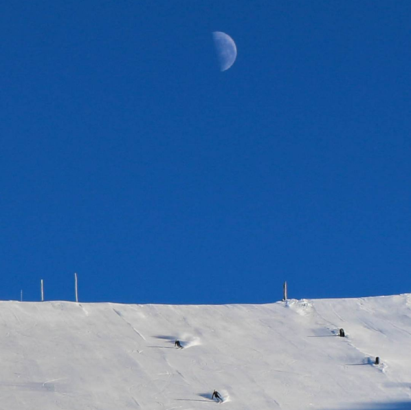 Skiing in the moonlight earlier this week at Mt. Hutt