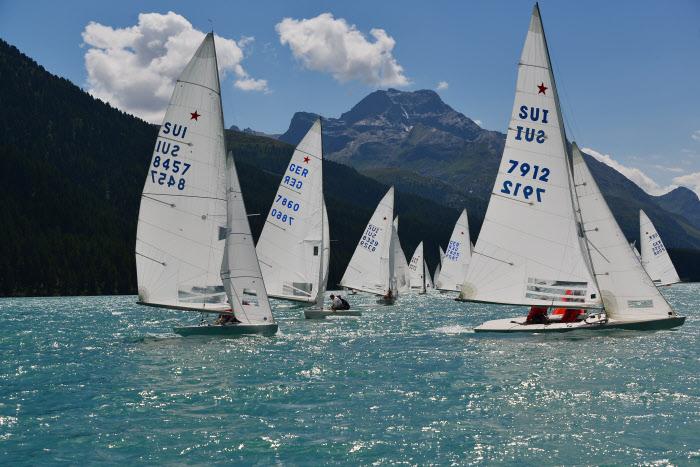 A regatta on Lake Silvaplana with Piz La Margna in the background