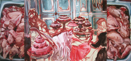 """Let Them Eat Raw Meat""  2006, oil on canvas, 259 x 122 cm"