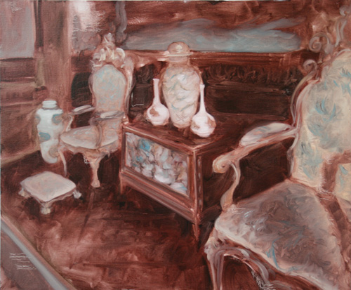 """Chatsworth Chairs""  2011, oil on canvas, 76 x 66 cm"