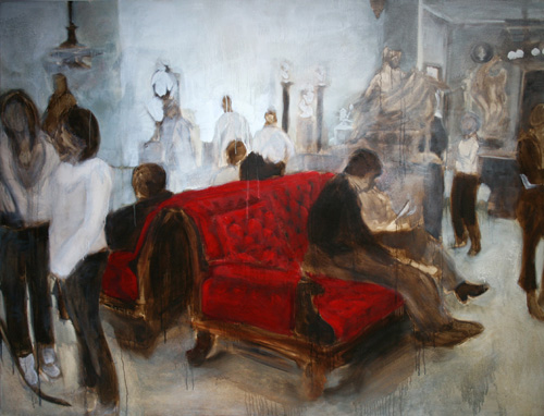 """Red Sofa""  2010, oil on canvas, 190 x 153 cm"
