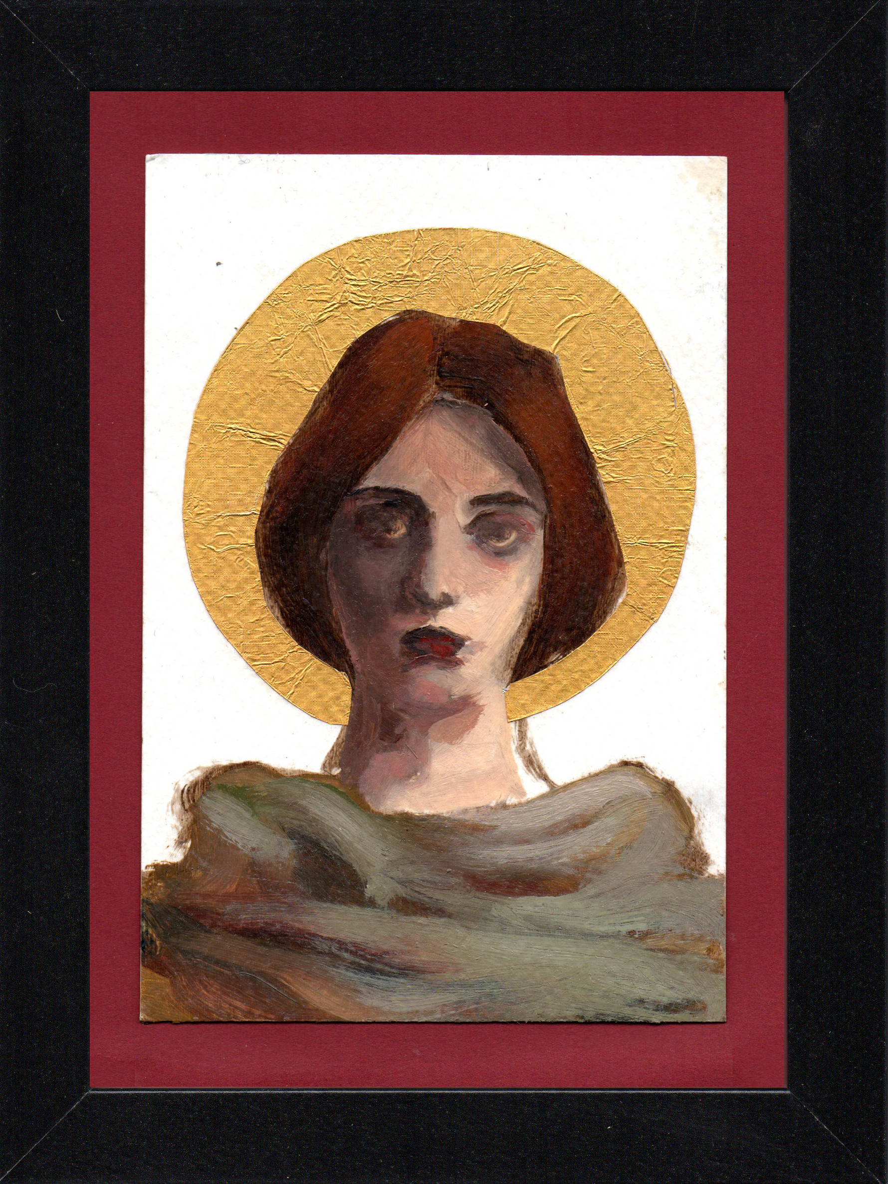 "Postcard Saint 3, oil & gold foil on paper 10.5 x 15 cm (4"" x 6""), 2016"
