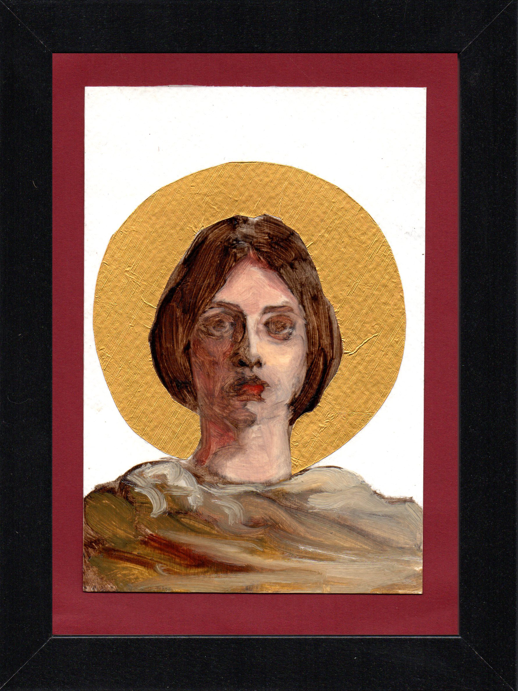"Postcard Saint 4, oil & gold foil on paper 10.5 x 15 cm (4"" x 6""), 2016"
