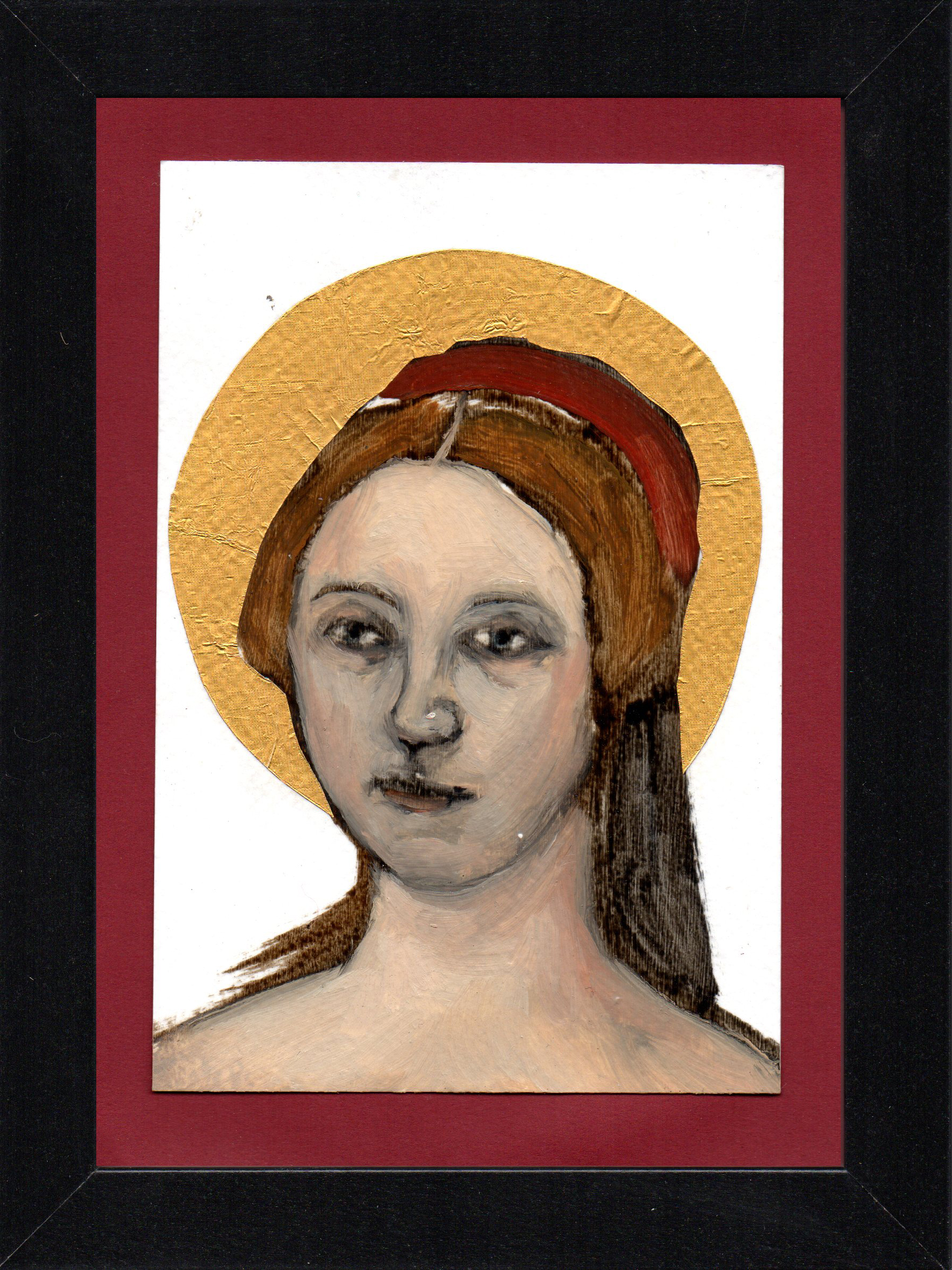 "Postcard Saint 5, oil & gold foil on paper 10.5 x 15 cm (4"" x 6""), 2016"