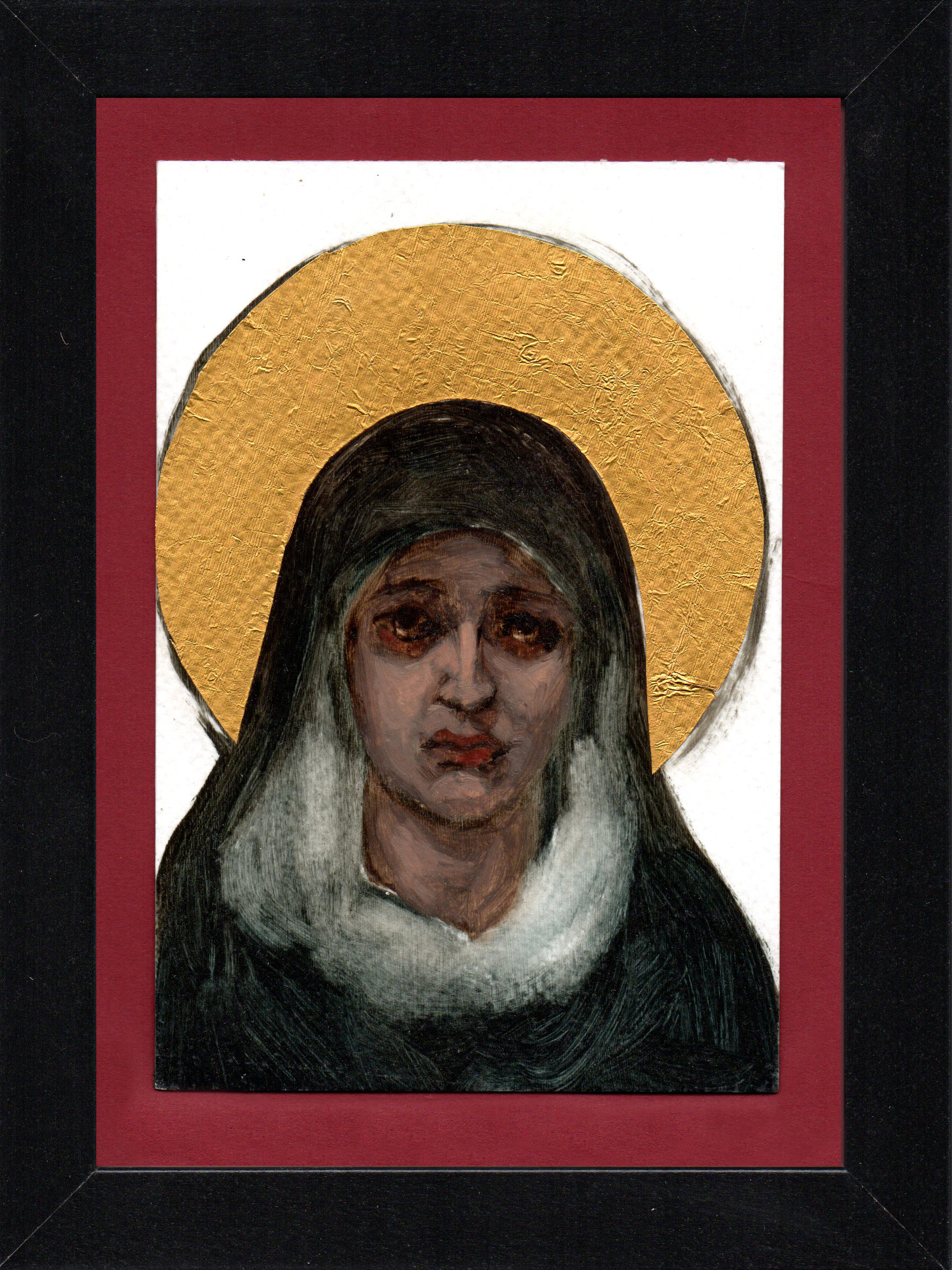 "Postcard Saint 6, oil & gold foil on paper 10.5 x 15 cm (4"" x 6""), 2016"