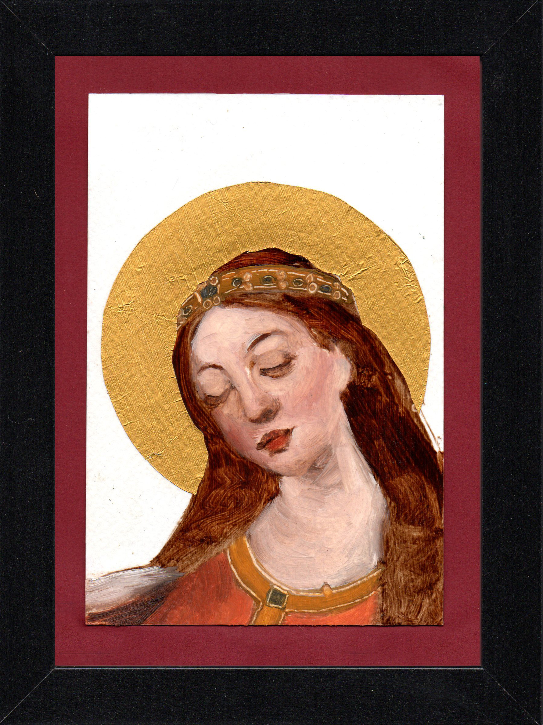 "Postcard Saint 9, oil & gold foil on paper 10.5 x 15 cm (4"" x 6""), 2016"