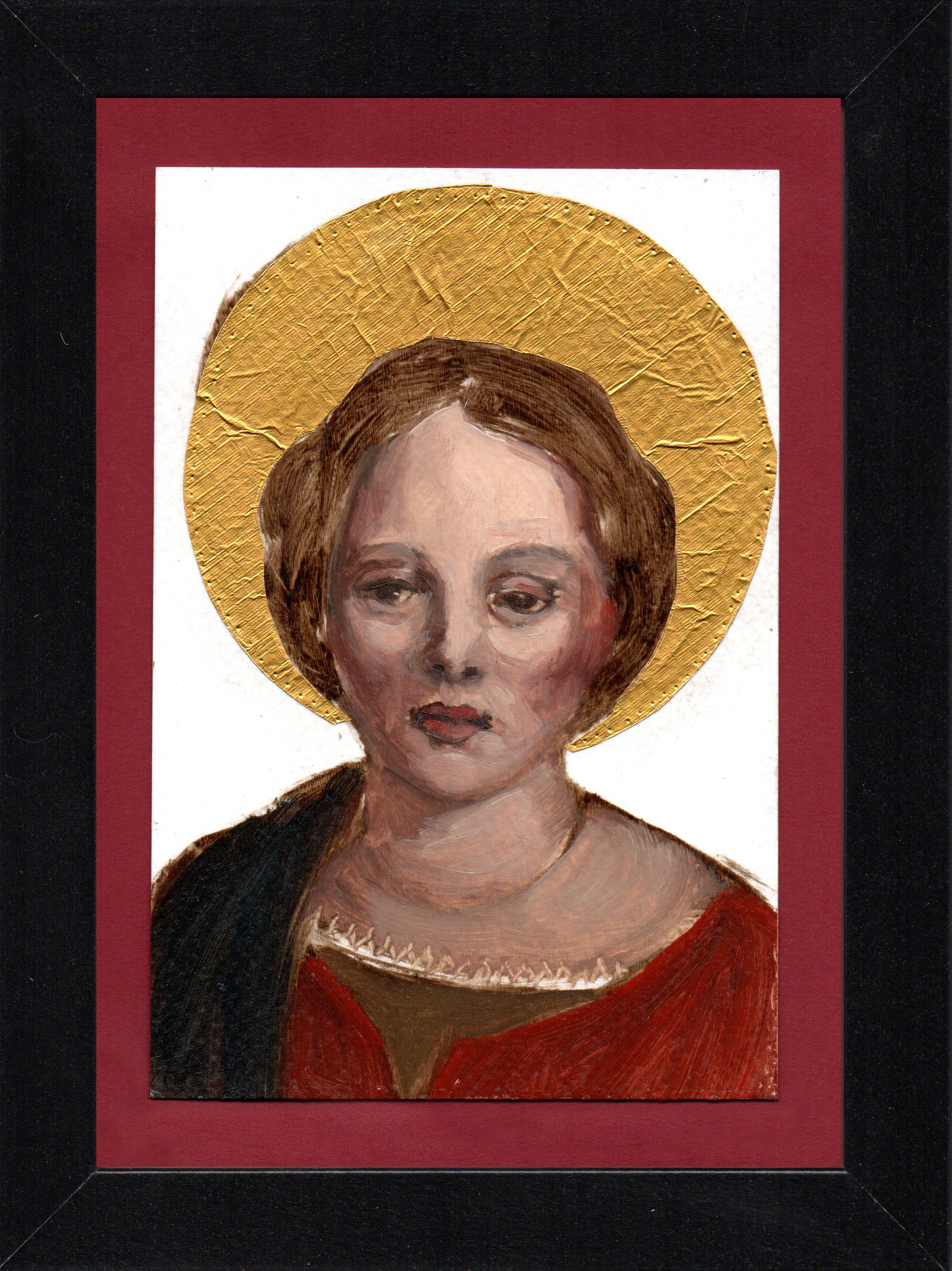 "Postcard Saint 10, oil & gold foil on paper 10.5 x 15 cm (4"" x 6""), 2016"