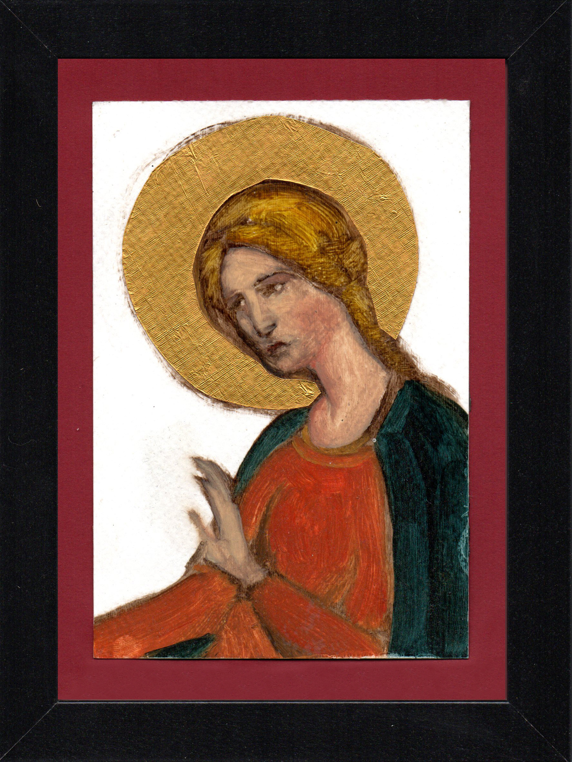 "Postcard Saint 12, oil & gold foil on paper 10.5 x 15 cm (4"" x 6""), 2016"