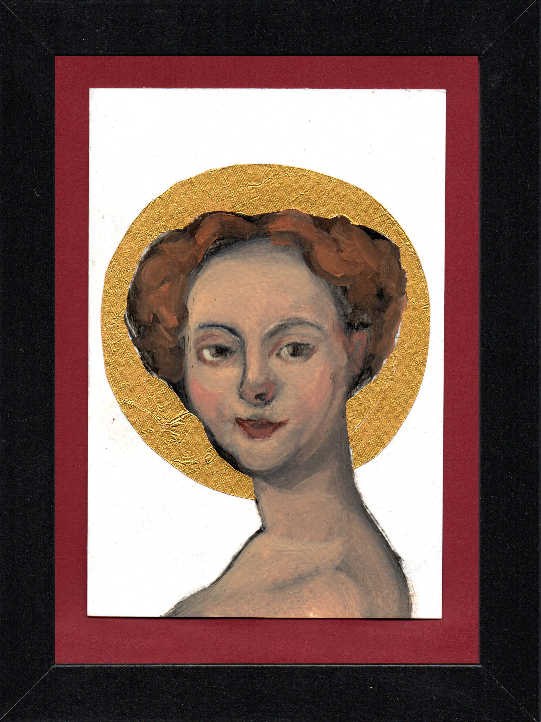 "Postcard Saint 11, oil & gold foil on paper 10.5 x 15 cm (4"" x 6""), 2016"