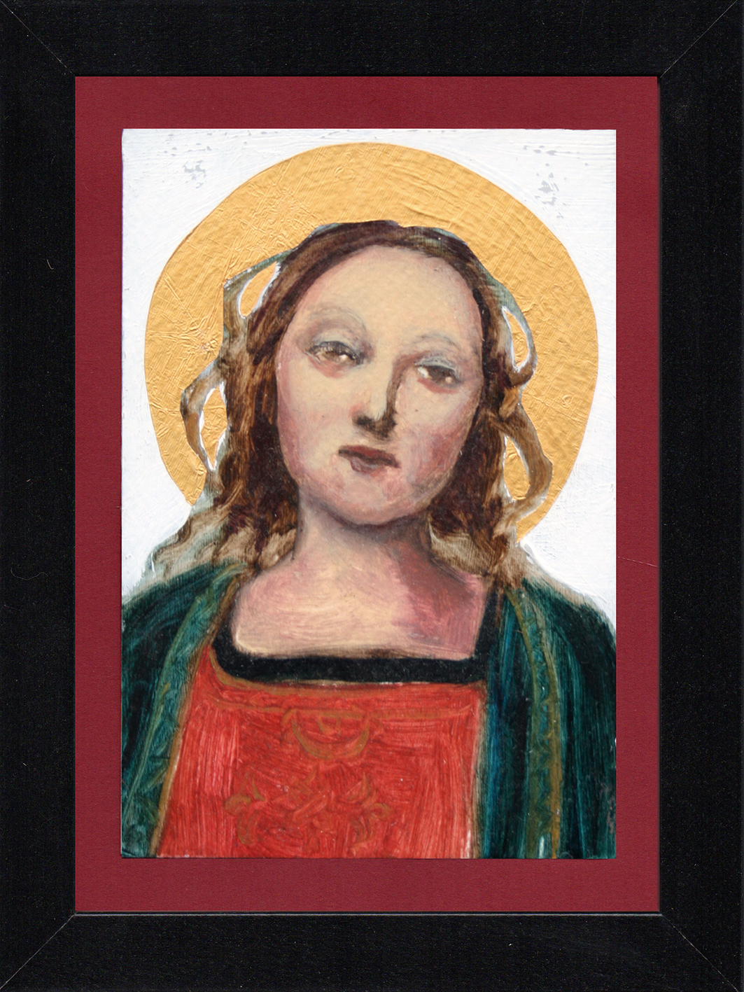 "Postcard Saint 13, oil & gold foil on paper 10.5 x 15 cm (4"" x 6""), 2016"