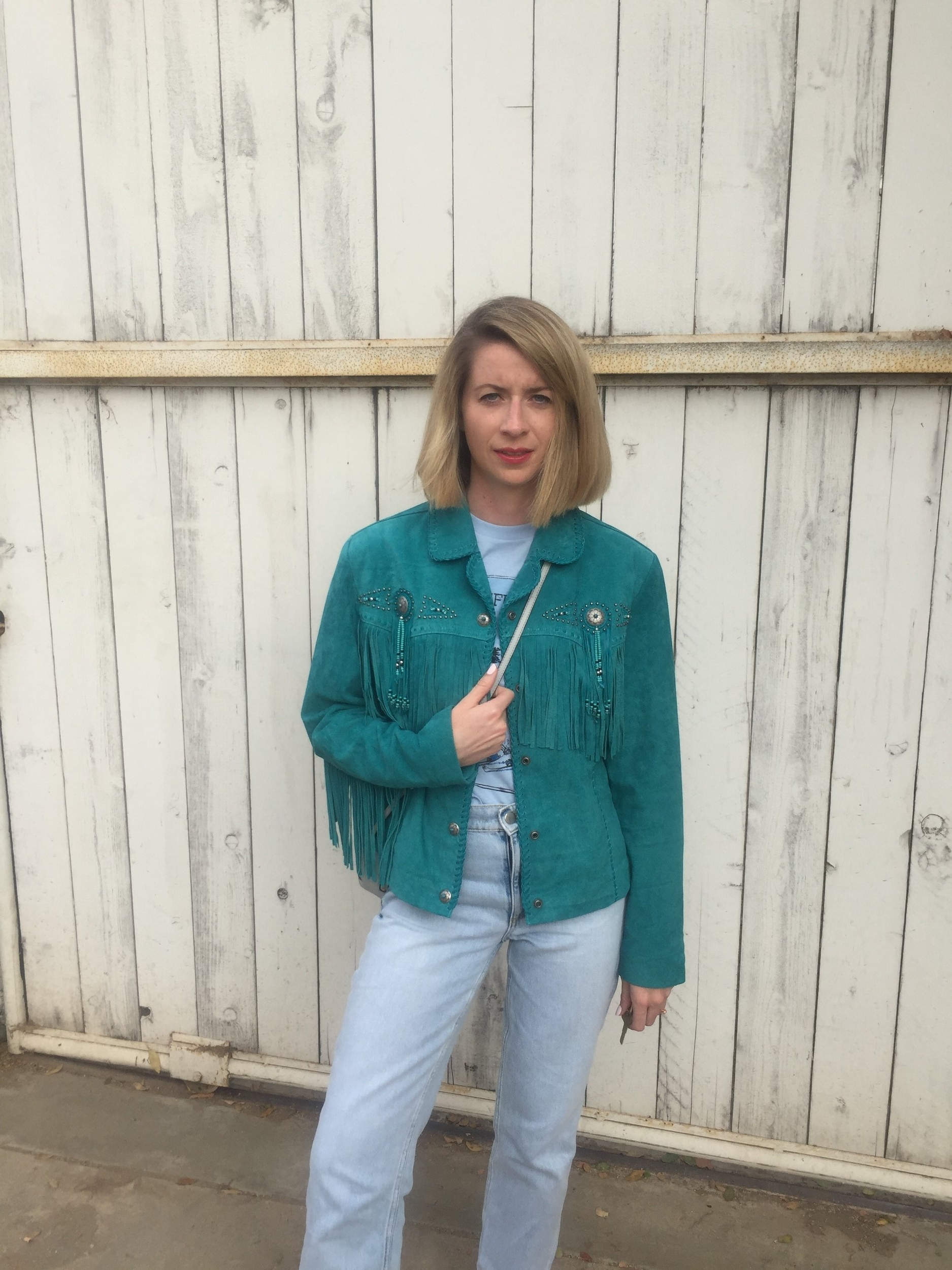 Turquoise fringed jacket, Pinto Ranch Las Vegas, Grateful Dead T-shirt, vintage, faded jeans, & Other Stories