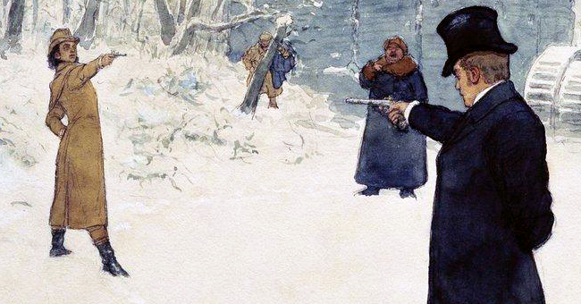 """Ilya Repin (1844–1930), """"Eugene Onegin and Vladimir Lensky's Duel"""""""