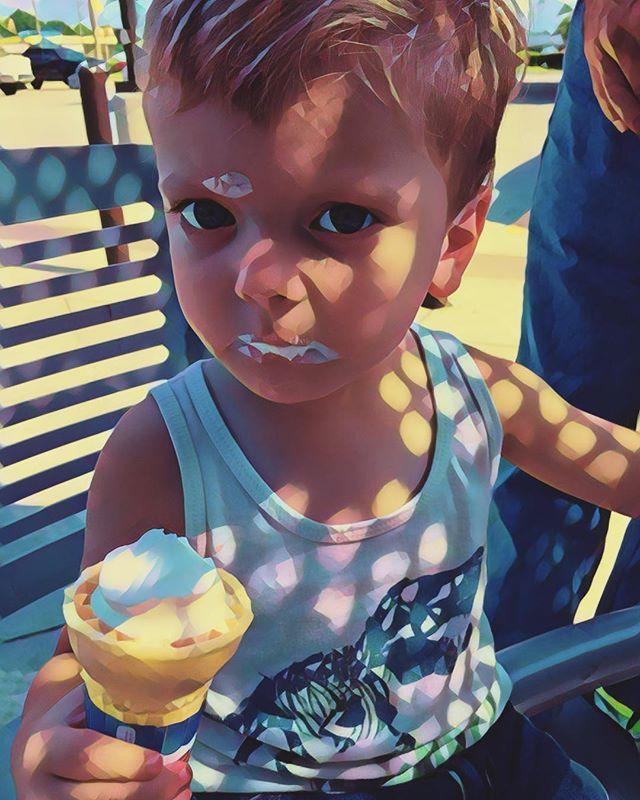 A kickback to #summer with my favorite nephew. #prisma #icecream #kiddos #lighting