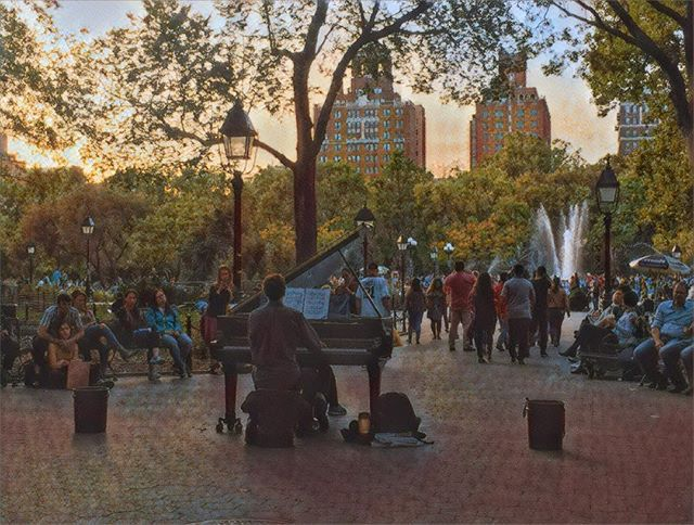 Beautiful classical music in Washington Square Park. How did he get a grand piano out here. #piano #park #concert #city #nyc