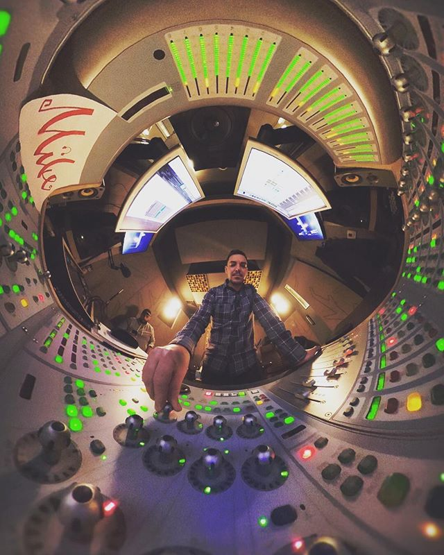 The audio wizard @metalacer working his magic at the audio mixer... or is he piloting a space ship? . . . #audio #mixer #360 #360photography #360photo #360theta #theta360 #thetav #tinyplanet #littleplanet #postproduction #soundboard #audiomix #spaceship #photography #photooftheday #future @321launchnyc