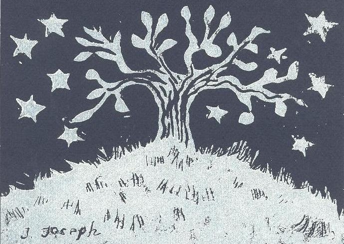 Tree of Life Bat Mitzvah Invitation, hand-printed Lino-cut, 2002.