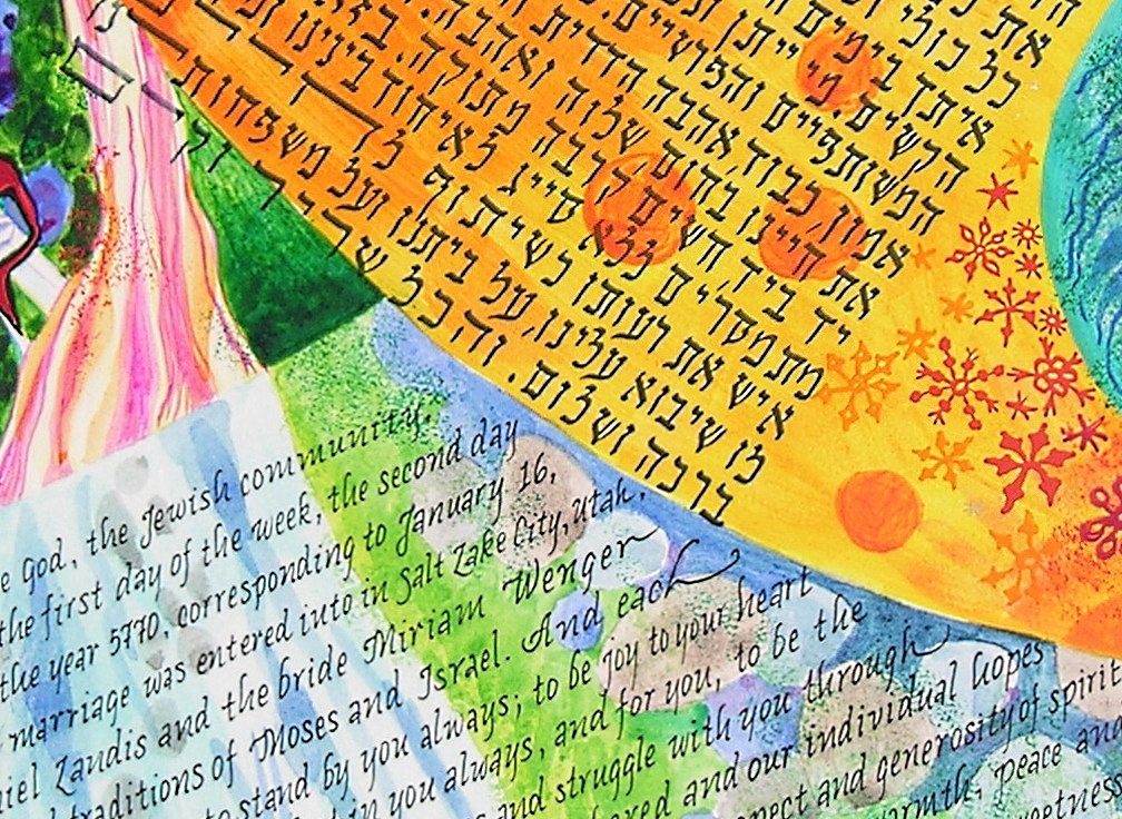 Calligraphy in English and Hebrew on Painted Background