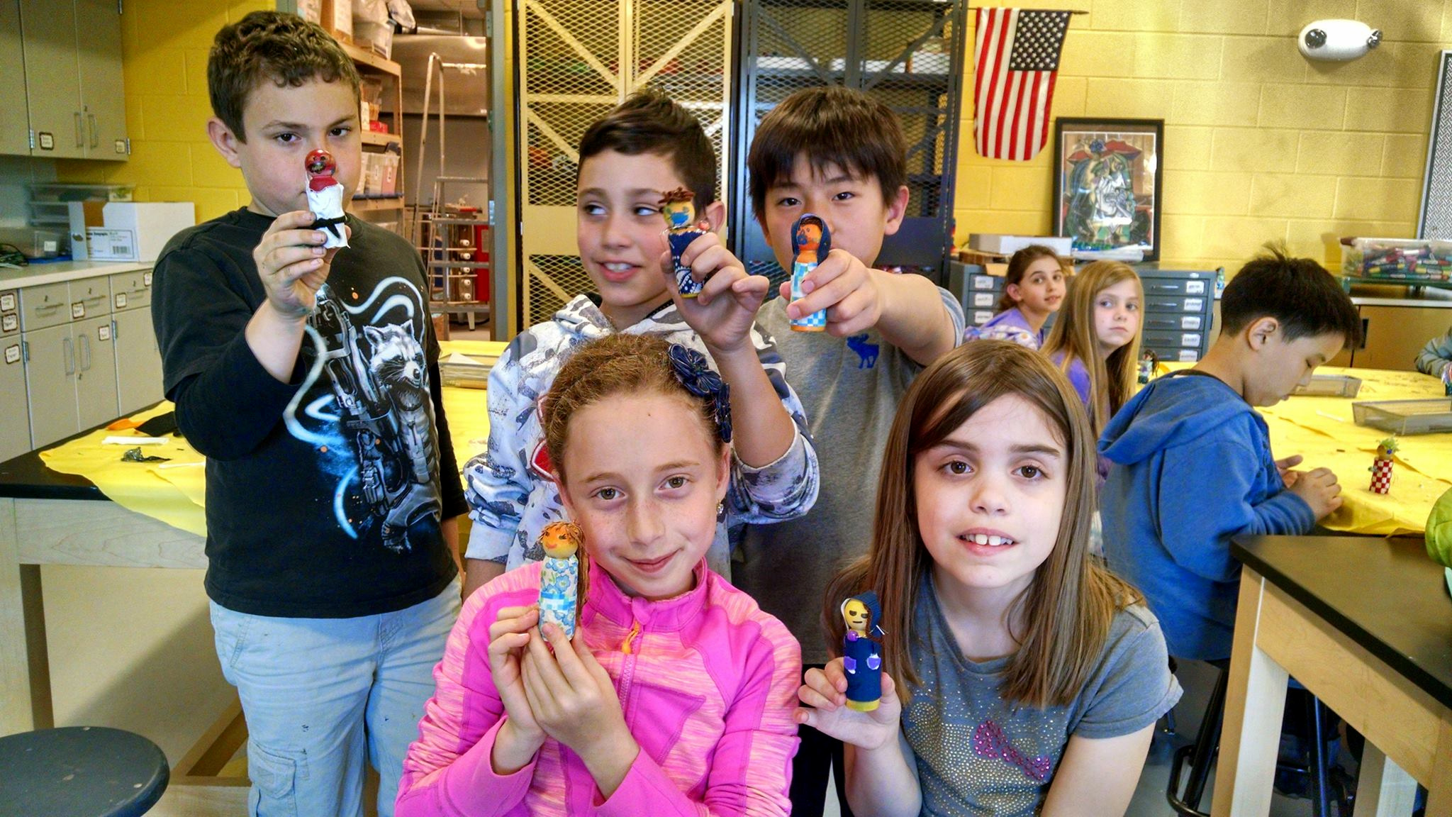 "Students with their ""little people"""