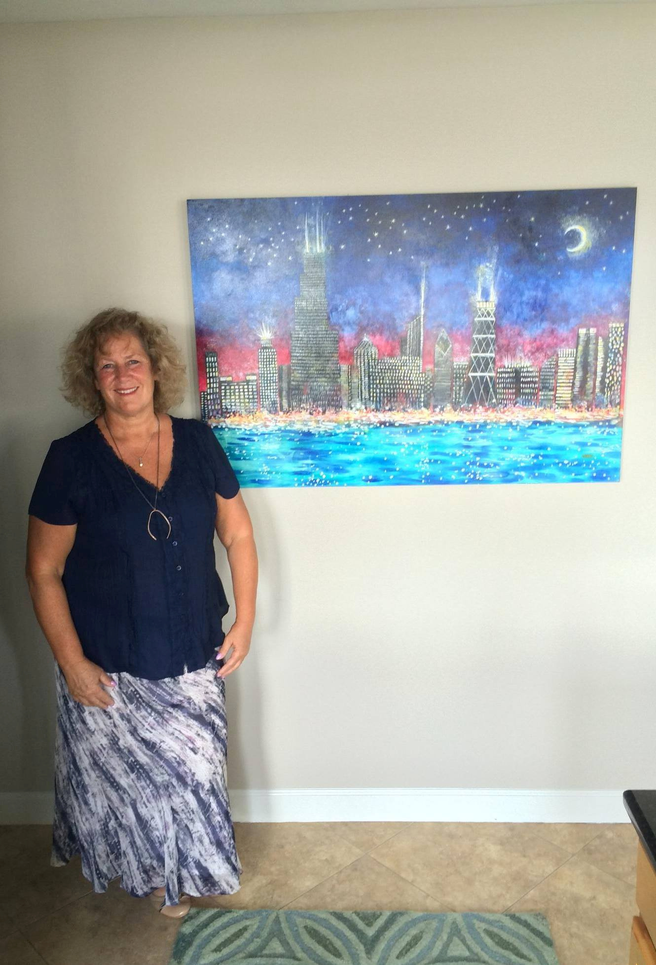 Chicago Skyline Painting in Client's Home