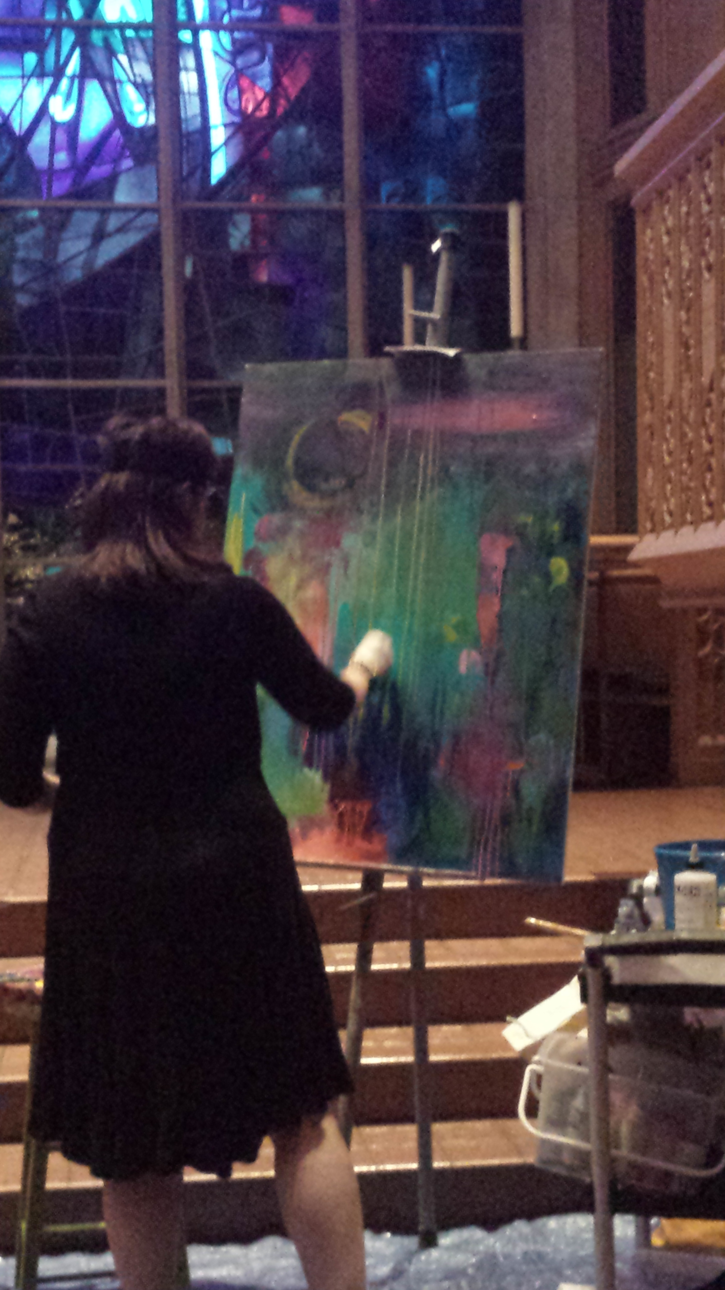 Live painting at Transcendance of Loss, Chelsea Betz NWU Master's Thesis Recital, 6-4-16