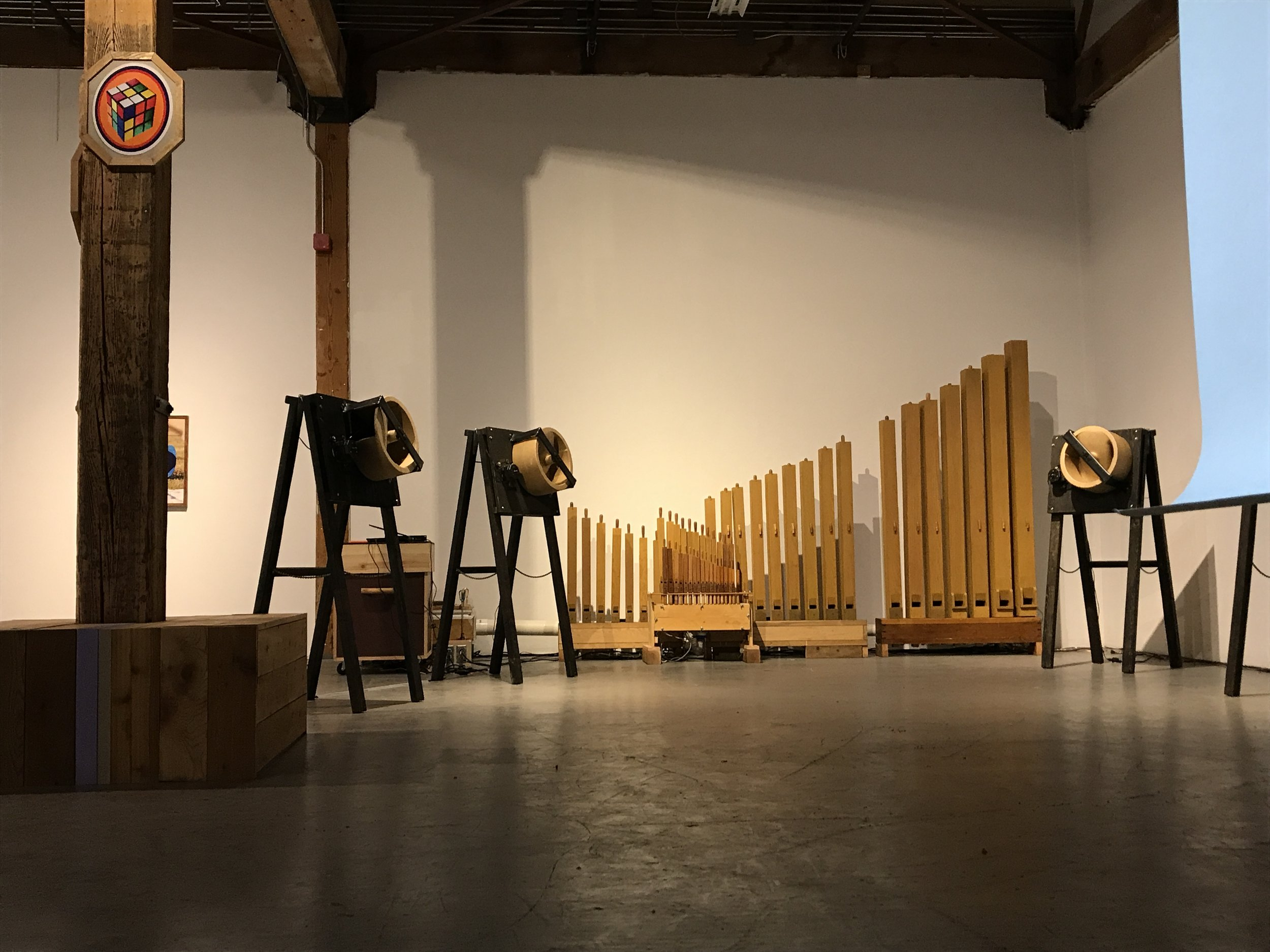 George Rahi -  Organ Installation  and  Graeme Whan Various works:  bench, Rubik's Cube, Etch-e-Sketch, Tap and Flower .