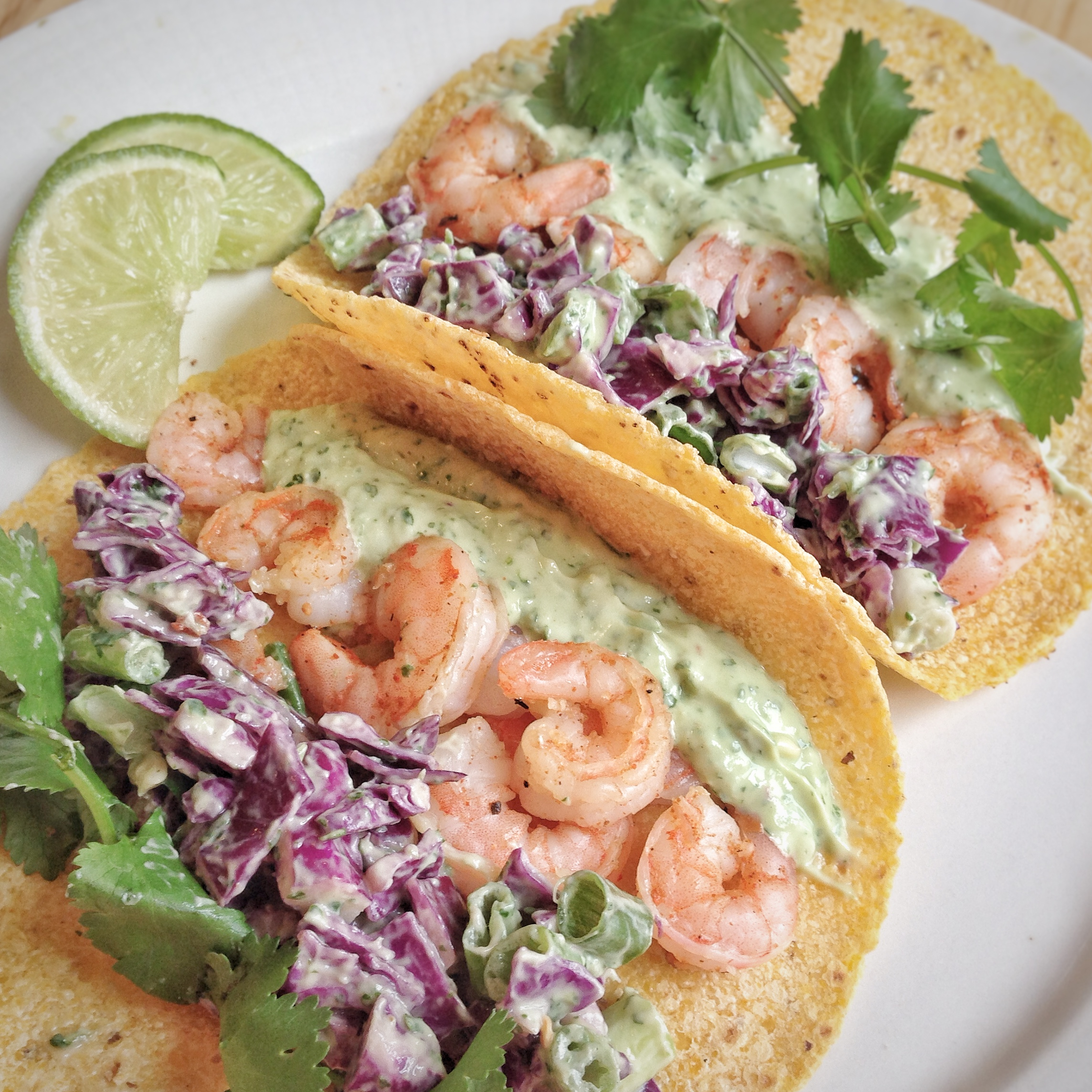 Shrimp Tacos & Cilantro Lime Sauce
