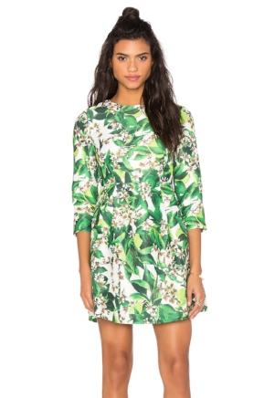 Greenery Floral Print Summer Dress