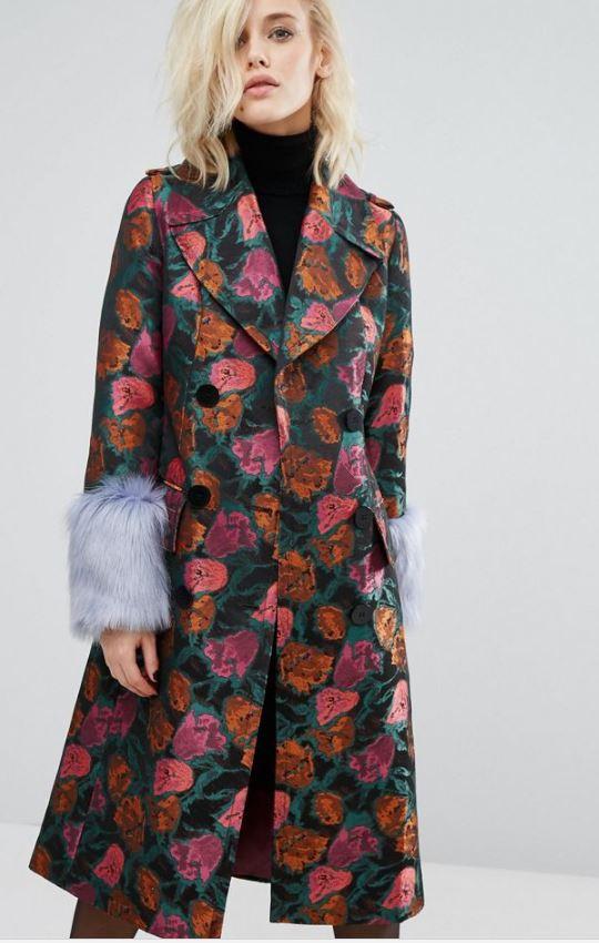 Asos Floral Statement Coat