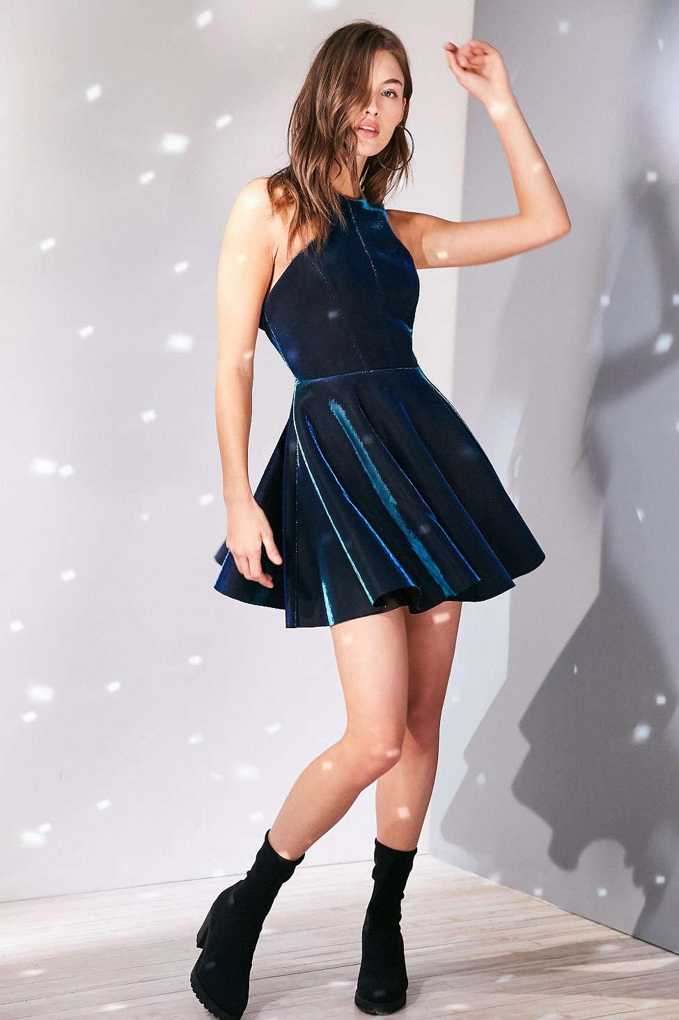 Silence + Noise Iridescent Carved High-Neck Mini Dress, $98
