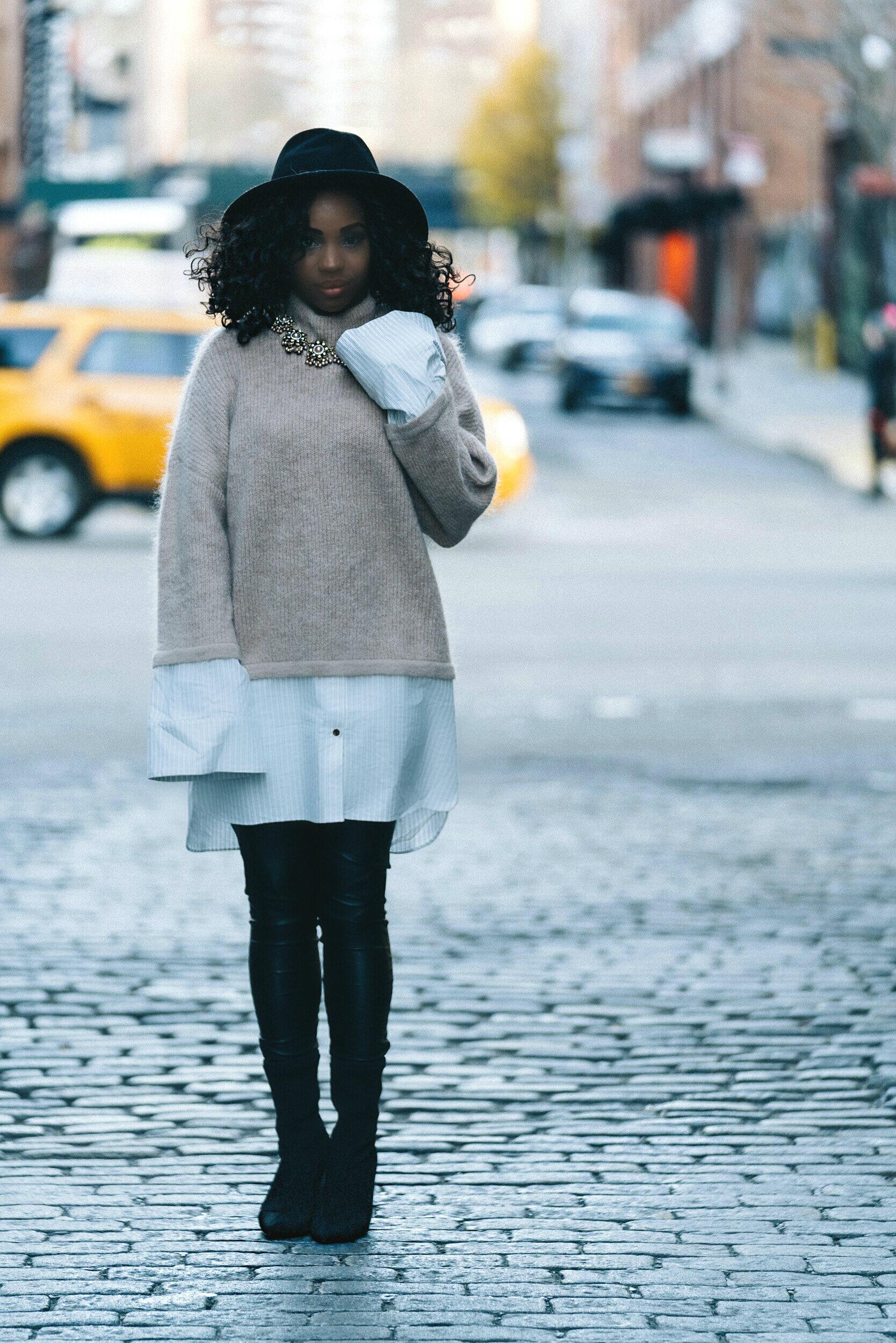 Volume Sleeves Sweater Street Style