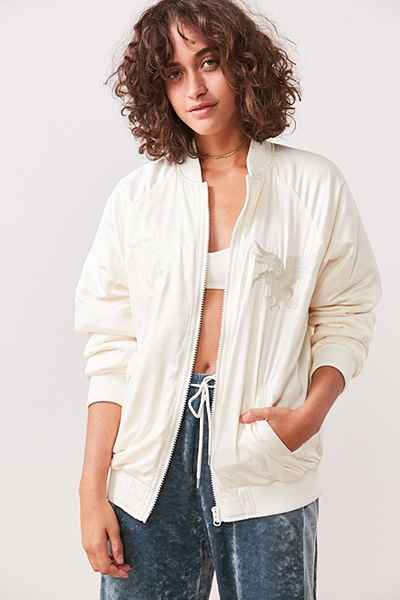 Urban Outfitters White Bomber