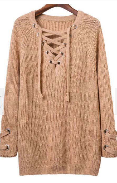 Romwe Lace-Up Tunic
