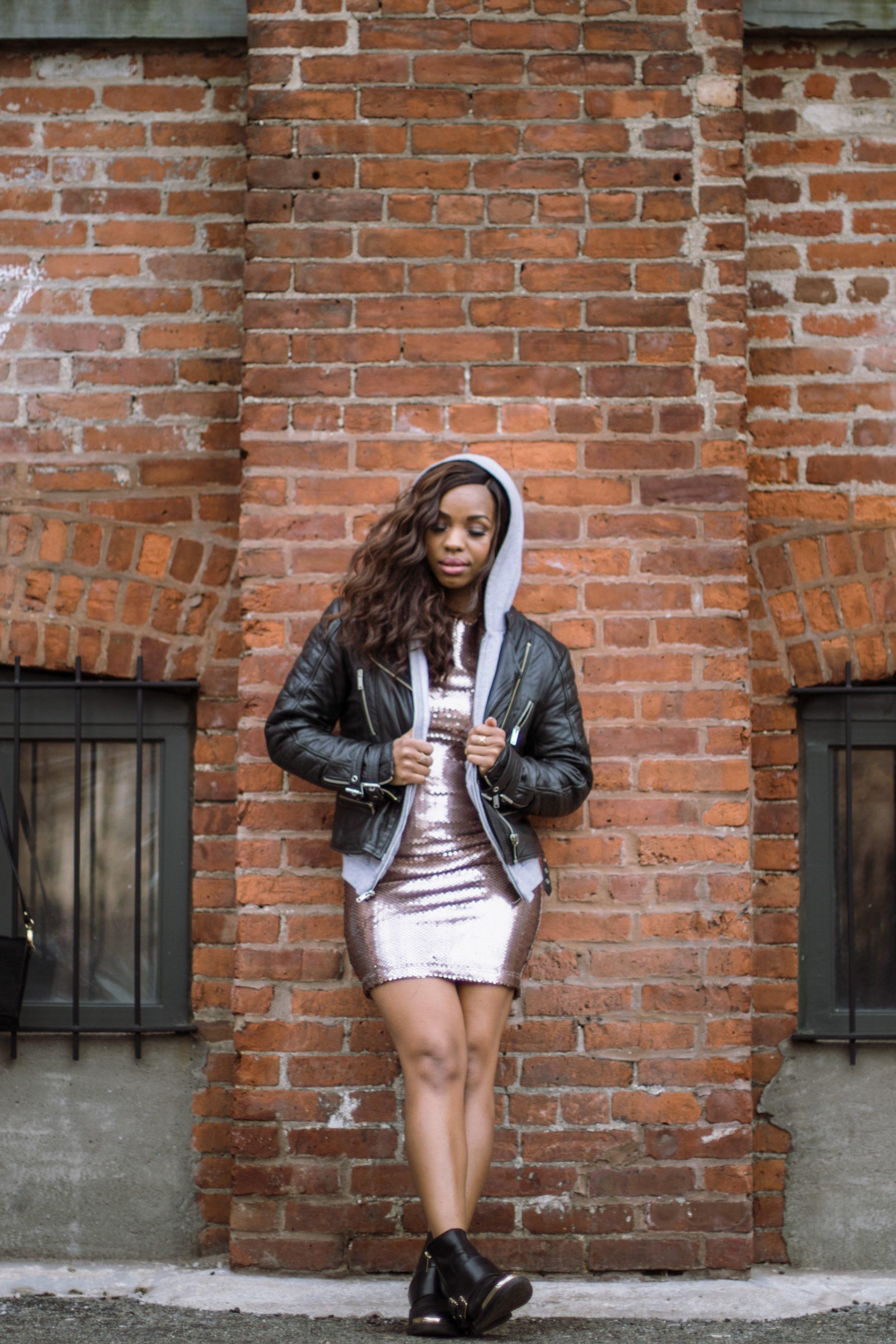 Sparkles Hoodie Moto Jacket Layering Look