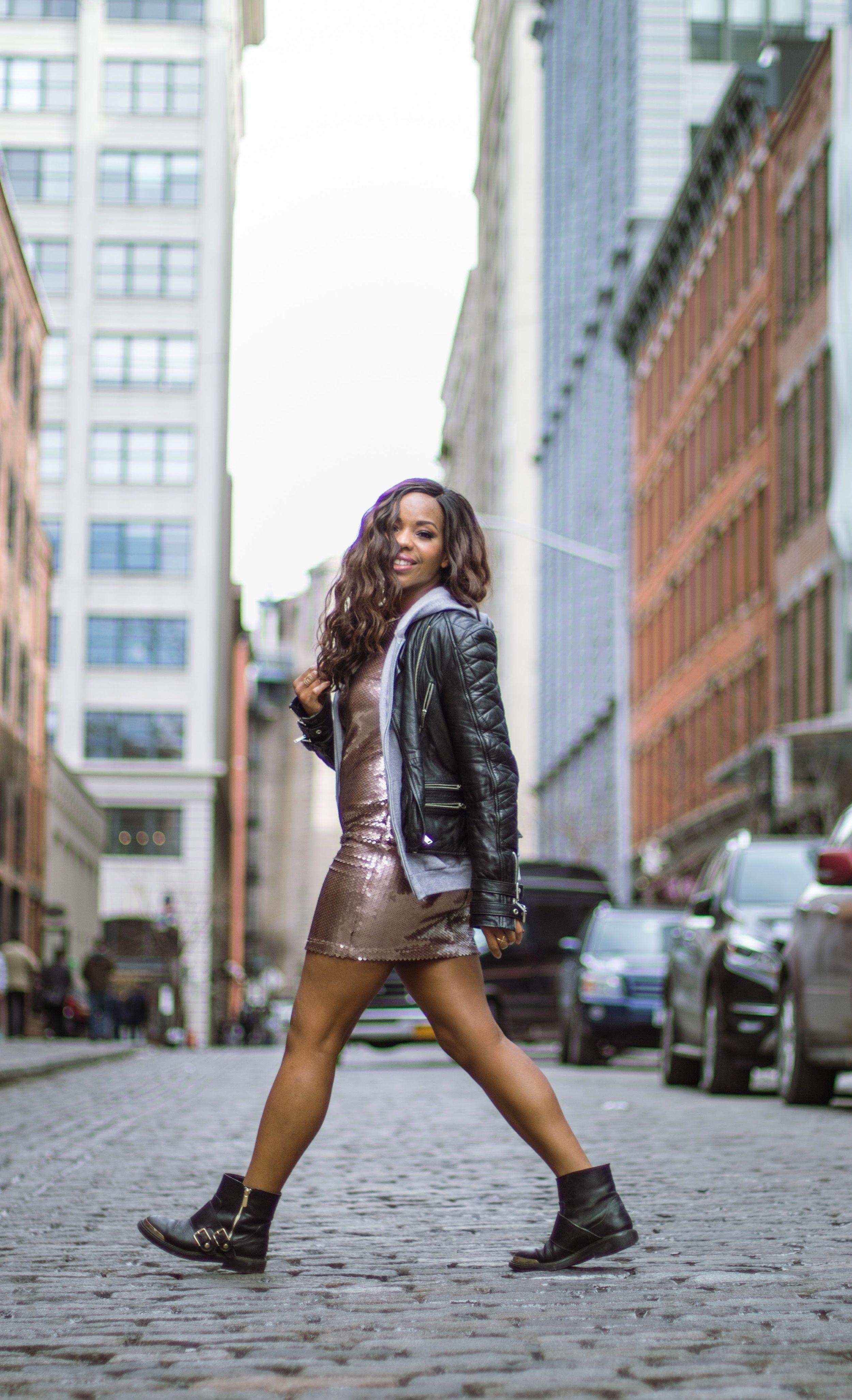 Street Style Shot Sparkle Dress Brooklyn