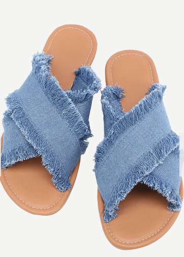 Raw Edge Denim Slides