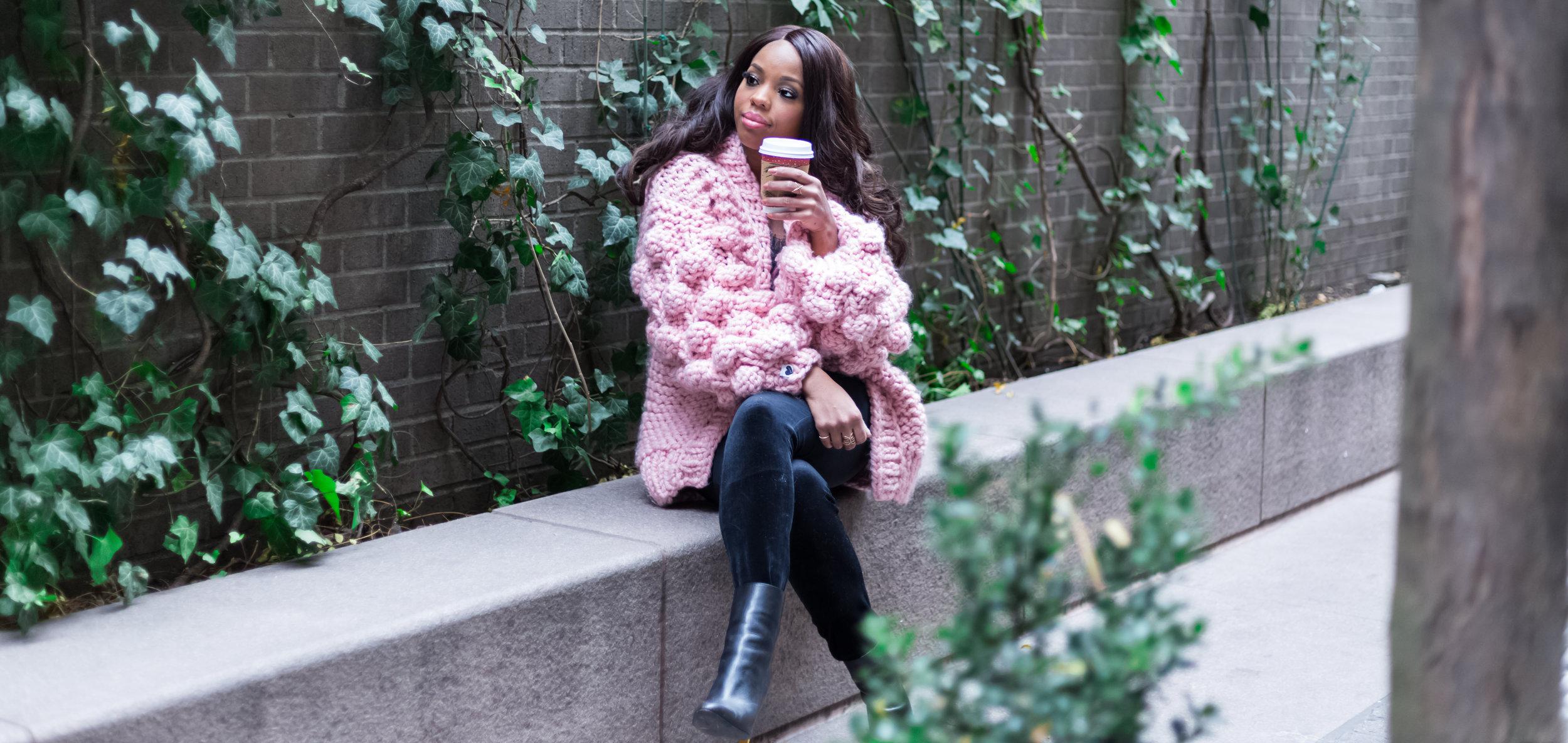 Handmade Pom Pom Knit Cardigan Sweater