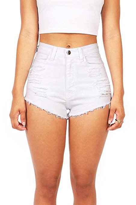 Denim High Waist White Cutoff Shorts.jpg